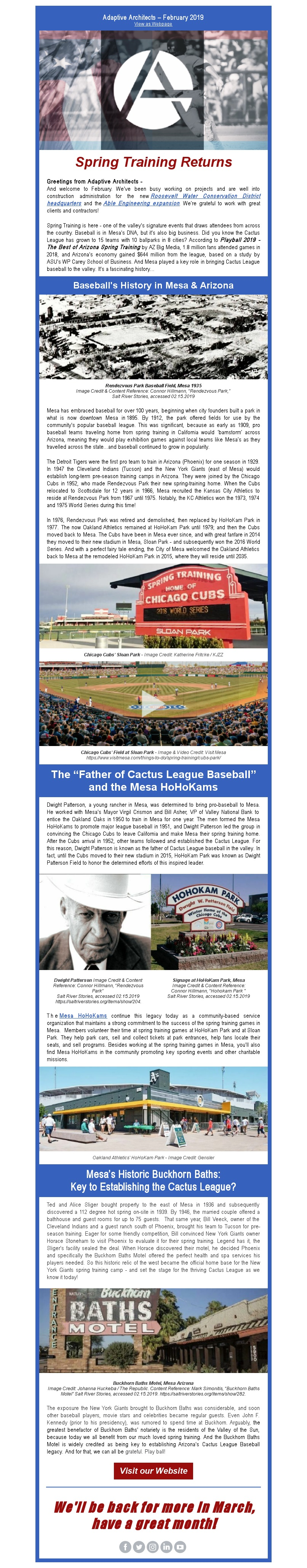 Image of Adaptive Architects Feb 2019 Newsletter - Spring Training Returns