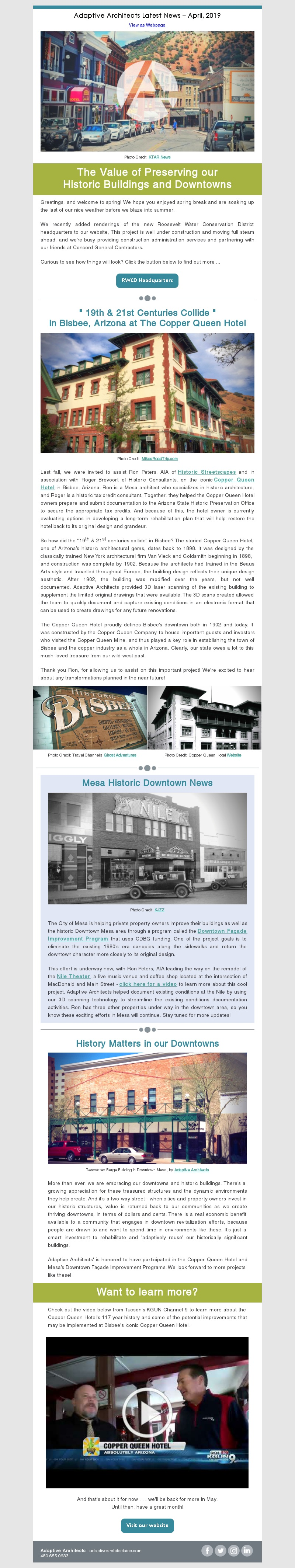 Image of Adaptive Architect's April 2019 Newsletter, 'New Tech in the Old West'